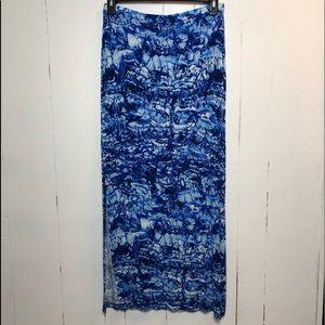 Michael Kors Blue Tie Dye Stretch Maxi Skirt